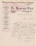 VISCOMTAT BEAUJEU MANUFACTURE DE TIRE BOUCHONS ET TIRE BOUTONS MECHES EN MAILLE ANNEE 1909 - Francia