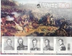 2015 Belgium Waterloo Napoleon  Miniature Sheet Of 5 MNH @ 80% Face Value - Militaria