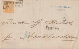 Preussen Brief EF Minr.12 R2 Deutz. Bahnh. 29.3. Franco-Stempel Gel. Nach Amsterdam - Preussen