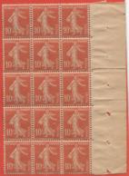 Bord De Feuille Droit Semeuse 138 Bloc De 15 Timbres Papier GC - 1906-38 Semeuse Camée