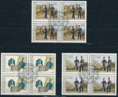 Zumstein 962-964 / Michel 1020-1022 Viererblockserie Mit ET-Zentrumstempel - Used Stamps