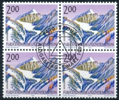 Zumstein 1001 / Michel 1059 Viererblockserie Mit ET-Zentrumstempel - Used Stamps