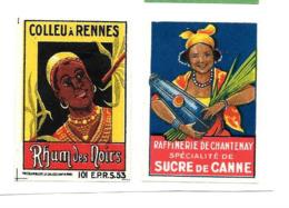 KB632 - ETIQUETTES BOITE D'ALLUMETTES DE SURETE - RHUM COLLEAU A RENNES - SUCRE DE CANNE CHANTENAY - Boites D'allumettes - Etiquettes