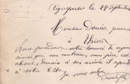 AIGUEPERSE DESNIER GARNAUD GRAINS FARINES ANNEE 1883 CARTE LETTRE AVEC CACHET ENTETE EN RELIEF A MR DOUIN A THIERS - Aigueperse