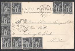 Sage Y/T 83 X 10 Sur CP De Romorantin Du 22/11/1878 Vers Fonteney Le Comte - Postmark Collection (Covers)
