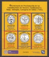 2012 Colombia State Constitutions Coats Of Arms  Souvenir Sheet MNH - Colombie