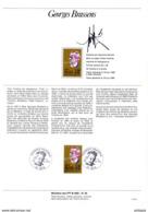 """RARE """" GEORGES BRASSENS """" SIGNE Sur Document A4 1er Jour De 1990 (par RAYMOND MORETTI Dessinateur) N° YT 2654 Parf état - Sänger"""