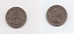 25 Cents – Caraïbes Orientales – 1989 - Bateau – Elizabeth II – Cuivre Nickel – Etat TTB – KM 14 - Ostkaribischer Staaten