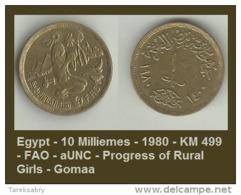 Egypt - 10 Milliemes - 1980 - KM 499 - FAO - AUNC - Progress Of Rural Girls - Gomaa - Egypte