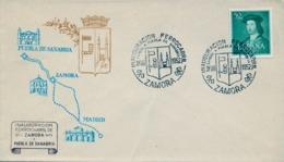 1952 , ZAMORA , INAUGURACIÓN FERROCARRIL SAMORA A PUEBLA DE SANABRIA , SOBRE CONMEMORATIVO - 1931-Hoy: 2ª República - ... Juan Carlos I