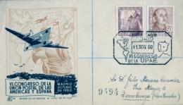 1950 ,MADRID - VI CONGRESO DE LA UPAE , SOBRE CONMEMORATIVO CIRCULADO A TORRELAVEGA , LLEGADA - 1951-60 Cartas