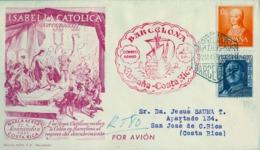 1951 , BARCELONA , CERTIFICADO A COSTA RICA , CORREO AÉREO , TRÁNSITOS Y LLEGADA , CORREO AÉREO - 1951-60 Briefe U. Dokumente