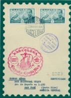 1951 , BARCELONA , CERTIFICADO A COSTA RICA , CORREO AÉREO , TRÁNSITOS Y LLEGADA , CORREO AÉREO - 1931-Hoy: 2ª República - ... Juan Carlos I