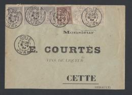 Sage Y/T 87 Bande De 3 Et Y/T 88 + Blanc 107 En Paire De Dole Vers Cette 15/2/1904 - Marcophilie (Lettres)