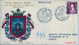 1952 , BURGOS , PRIMERA EXPOSICIÓN FILATÉLICA , SOBRE CONMEMORATIVO CIRCULADO , FIRMAS , LLEGADA - 1931-Hoy: 2ª República - ... Juan Carlos I