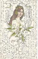 CPA MUGUET -ART NOUVEAU-FEMME 1901 - Flowers