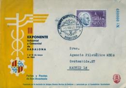 1963 , BADALONA , III EXPONENTE INDUSTRIAL Y COMERCIAL , SOBRE CONMEMORATIVO - 1931-Hoy: 2ª República - ... Juan Carlos I