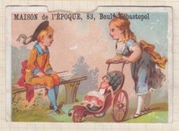 9AL2519  CHROMO DELEHEDDE Enfants Poussette Poupee 2 SCANS Abimée - Other