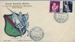 1954 , BURGOS , SEGUNDA EXPOSICIÓN FILATÉLICA , SOBRE CONMEMORATIVO , EL CID CAMPEADOR - 1931-Hoy: 2ª República - ... Juan Carlos I