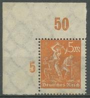 Deutsches Reich 1923 Freimarke Arbeiter Platte Oberrand 238 P OR Ecke Postfrisch - Deutschland