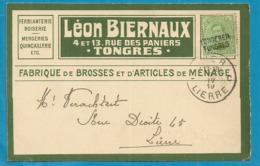 137 Op Kaart Met Naamstempel TONGEREN / TONGRES Als Noodstempel - Postmark Collection