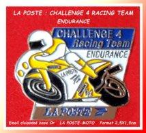 """SUPER PIN'S POSTES Et MOTO : EQUIPE """"LA POSTE"""" Au CHALLENGE 4, Racing TEAM D'ENDURANCE, émail Cloisonné Or  2,5X1,9cm - Mail Services"""