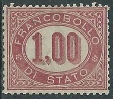 1875 REGNO SERVIZIO DI STATO 1 LIRA SENZA GOMMA - RB8-7 - Dienstpost