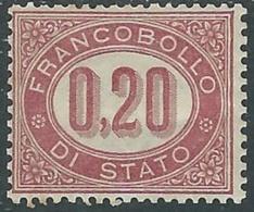 1875 REGNO SERVIZIO DI STATO 20 CENT MH * - RB8-9 - Dienstpost