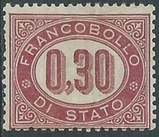 1875 REGNO SERVIZIO DI STATO 30 CENT SENZA GOMMA - RB8-7 - Dienstpost