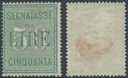 1884 REGNO SEGNATASSE 50 LIRE MH * - RB4-9 - 1878-00 Humbert I.