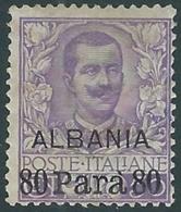 1907 LEVANTE ALBANIA FLOREALE 80 PA SU 50 CENT MH * - RB6-4 - 11. Auslandsämter