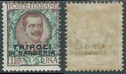 1909 LEVANTE TRIPOLI DI BARBERA FLOREALE 1 LIRA MH * - RB6-7 - 11. Auslandsämter