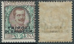 1909 LEVANTE TRIPOLI DI BARBERA FLOREALE 1 LIRA MH * - RB6-7 - Bureaux D'Europe & D'Asie