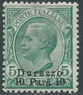 1909-11 LEVANTE DURAZZO EFFIGIE 10 PA SU 5 CENT MNH ** - RB6-6 - 11. Auslandsämter