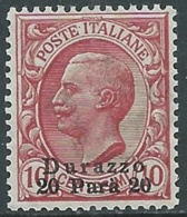 1909-11 LEVANTE DURAZZO EFFIGIE 20 PA SU 10 CENT MNH ** - RB6-6 - 11. Foreign Offices