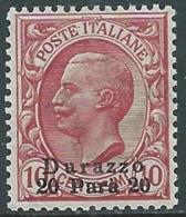 1909-11 LEVANTE DURAZZO EFFIGIE 20 PA SU 10 CENT MNH ** - RB6-6 - 11. Auslandsämter