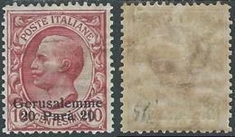 1909-11 LEVANTE GERUSALEMME EFFIGIE 20 PA SU 10 CENT MH * - RB6-6 - 11. Auslandsämter