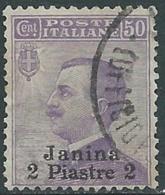 1909-11 LEVANTE GIANNINA USATO EFFIGIE 2 PI SU 50 CENT - RB20-8 - 11. Auslandsämter