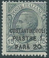1922 LEVANTE COSTANTINOPOLI EFFIGIE 1,20 PI SU 15 CENT MNH ** - RB6-4 - 11. Auslandsämter