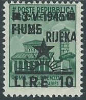 1945 OCCUPAZIONE JUGOSLAVA FIUME 10 LIRE SU 25 CENT MH * - RB6-3 - Ocu. Yugoslava: Fiume