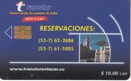 "CUBA - Transtur ""Rent A Car"", Tirage 21000, 11/01, Used - Kuba"