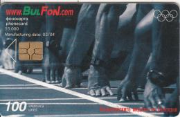 BULGARIA - Athens 2004 Olympics/Athletics, Bulfon Telecard 100 Units, Tirage 55000, 02/04, Used - Sport