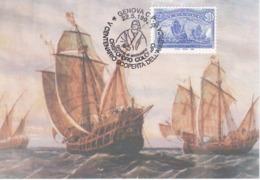 Carte Maximum Bteau Ship Boat Italie 1992 Colomb - Maximumkarten (MC)