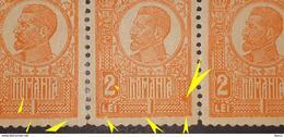 Error Romania 1920, KING FERDINAND 2 LEI ORANGE,STRIP X3, WITH SPOPT COLOR MNH - Unused Stamps