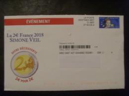 17986- Pseudo PAP Privé Club Français De La Monnaie, Thème Simone Veil, Oblitéré, Complet - Ganzsachen