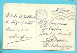 Kaart Stempel ANTWERPEN 1 Op 10/08/1914 (Offensief W.O.I) - Unbesetzte Zone