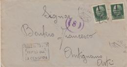 A/1 - BUSTA REPUBBLICA SOCIALE ITALIANA - 2 VALORI 25 Cent. CON FASCETTO - TORINO PER ANTIGNANO D'ASTI - 4. 1944-45 Repubblica Sociale