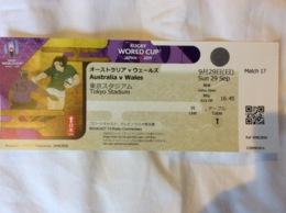 Rugby World Cup Japan 2019.Ticket Match Australia-Wales.29 Sept.Tokyo Stadium - Tickets D'entrée