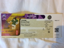 Rugby World Cup Japan 2019.Ticket Match BRONZE FINAL.New Zealand - Wales. 1 Nov.Tokyo Stadium - Rugby