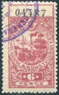 Argentina 1898 Provincia Santa Fe 6 P. Local Revenue Fiscal Tax Gebührenmarke LIGHTHOUSE Leuchtturm Phare Sailing Ship - Phares